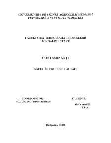 Contaminanti - Zincul in Produse Lactate - Pagina 1