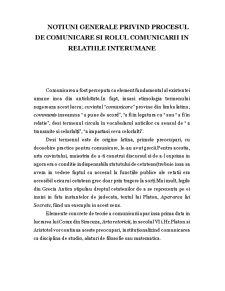 Notiuni Generale Privind Procesul de Comunicare si Rolul Comunicarii in Relatiile Interumane - Pagina 1