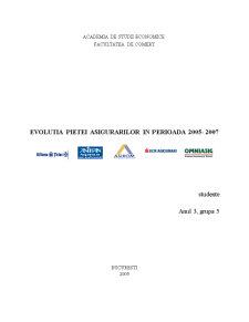 Evolutia Pietei Asigurarilor in Perioada 2005-2007 - Pagina 1