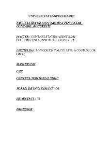 Calculatia Costurilor - Metoda Direct Costing - Pagina 1