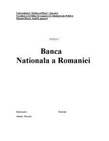 Rolul Bancii Nationala a Romaniei - Pagina 1