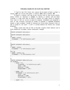 Crearea Bazelor de Date - SQL Server - Pagina 1