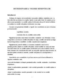 Determinarea Vigorii Semintelor - Pagina 1