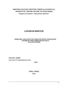 Înființarea unei Unități de Producție pentru Procesarea Legumelor prin Acidificare Naturală - Pagina 1