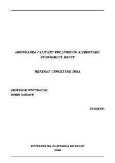 Asigurarea Calitatii Produselor Alimentare - Standardul HACCP - Pagina 1