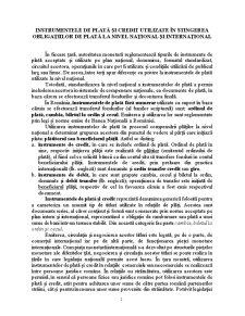 Instrumentele de Plată și Credit Utilizate în Stingerea Obligațiilor de Plată la Nivel Național și Internațional - Pagina 1