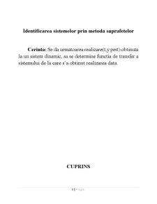 Identificarea Sistemelor prin Metoda Suprafetelor - Pagina 1