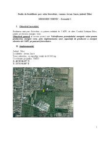 Studiu de Fezabilitate Parc Solar Fotovoltaic, Comuna Avram Iancu, Judetul Bihor - Pagina 1