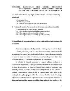 Impactul Timpului asupra Procesului Investitional - Pagina 1