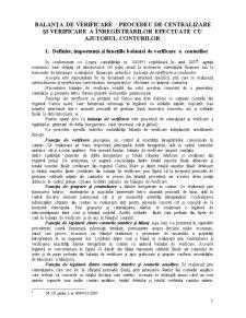 Balanța de Verificare - Procedeu de Centralizare și Verificare a Înregistrărilor Efectuate cu Ajutorul Conturilor - Pagina 1