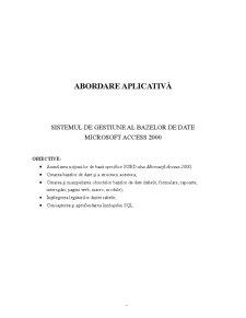 Abordare Aplicativa - Sistemul de Gestiune al Bazelor de Date Microsoft Access 2000 - Pagina 1