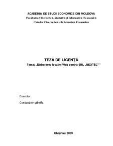 Elaborarea Locației Web pentru SRL Neotec - Pagina 1