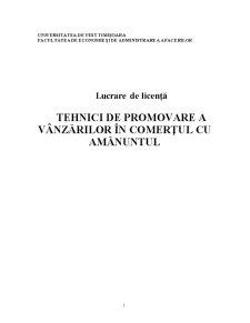 Tehnici de Promovare a Vânzărilor în Comerțul cu Amănuntul - Pagina 1