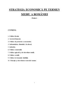 Politici si Strategii de Dezvoltare Economica a Romaniei - Pagina 1