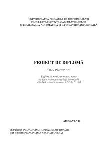 Proiect Licienta Reglare de nivel pentru un proces cu două rezervoare cuplate în cascadă utilizând sistemul numeric PLC-SLC 5/05 - Pagina 1