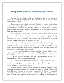 Evoluții Recente în Activitatea de Retail Banking din România - Pagina 1