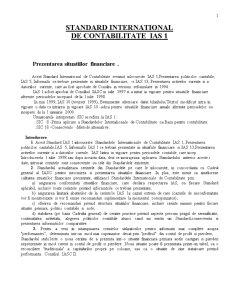 Standard International de Contabilitate  IAS 1 - Pagina 1