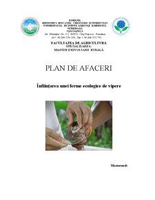 Plan de Afaceri - Infiintarea unei Ferme Ecologice de Vipere - Pagina 1
