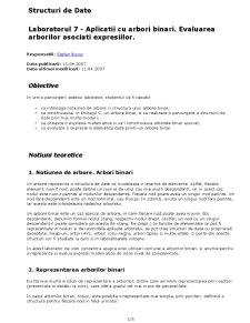 Aplicatii cu Arbori Binari - Evaluarea Arborilor Asociati Expresiilor - Pagina 1