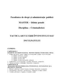 Tactica Ascultării Învinuitului sau Inculpatului - Pagina 1