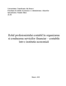 Rolul Profesionistului Contabil in Organizarea si Conducerea Serviciilor Financiar-Contabile intr-o Institutie Economica - Pagina 1
