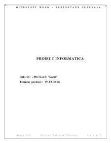 Proiect Informatica Microsoft WORD - Pagina 1