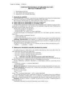 Costuri Previzionale - Metoda Standard Cost - Pagina 1