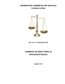 Elemente de Drept Penal și Procedură Penală - Pagina 1