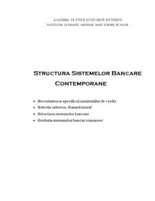 Structura Sistemelor Bancare Contemporane - Pagina 1