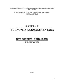 Economie Agroalimentara - Efficient Consumer Response - Pagina 1