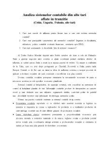 Analiza Sistemelor Contabile din Alte Tari Aflate in Tranzitie - Cehia, Ungaria, Polonia si Alte Tari - Pagina 1