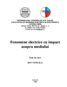 Fenomene Electrice cu Impact asupra Mediului - Pagina 1
