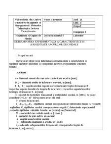 Determinarea Experimentala a Caracteristicii si a Rigiditatii Arcurilor Elicoidale - Pagina 1