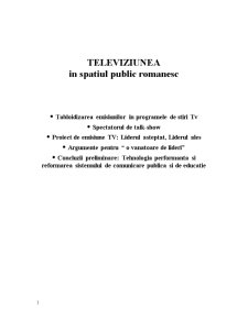 Televiziunea in Spatiul Public Romanesc - Pagina 1