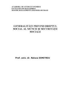 Generalități Privind Dreptul Social al Muncii și Securității Sociale - Pagina 1