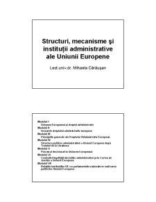 Structuri, Mecanisme si Institutii Administrative ale Uniunii Europene - Pagina 1