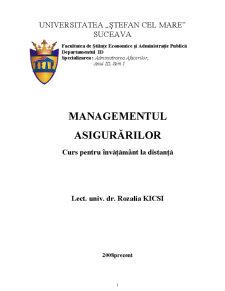 Managementul Asigurărilor - Pagina 1