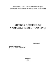 Metoda Costurilor Variabile Direct - Costing - Pagina 2