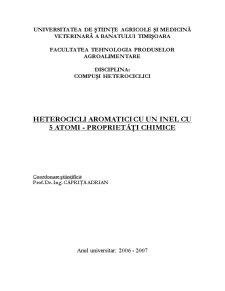 Heterocicli Aromatici cu un Inel cu 5 Atomi - Proprietăți Chimice - Pagina 1