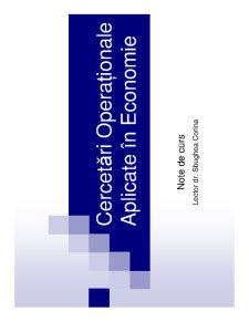 Cercetări Operaționale Aplicate în Economie - Pagina 1
