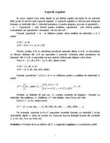 Expresii Regulate si Gramatici Regulate - Pagina 1