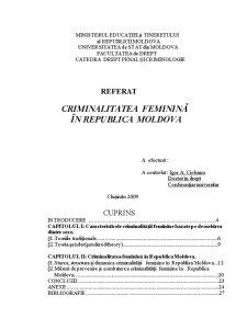 Criminalitatea Feminină în Republica Moldova - Pagina 1