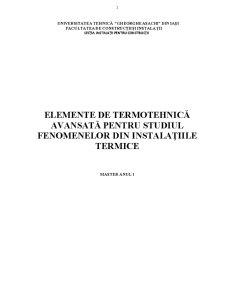 Elemente de Termotehnică Avansată pentru Studiul Fenomenelor din Instalațiile Termice - Pagina 1
