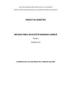 Metoda Pinch Aplicată în Ingineria Chimică - Pagina 1
