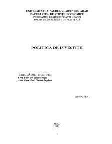 Politica de Investiții - Pagina 3
