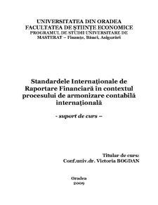 Standardele Internaționale de Raportare Financiară în Contextul Procesului de Armonizare Contabilă - Pagina 1