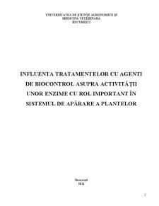 Influenta Tratamentelor cu Agenti de Biocontrol asupra Activitatii unor Enzime cu Rol Important in Sistemul de Aparare al Plantelor - Pagina 2