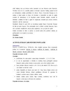 Lucrare de Practica la Banca Comerciala Romana SA - Sucursala Libertatii-Bucuresti - Pagina 5
