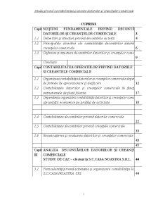 Studiu privind Contabilitatea și Analiza Datoriilor și Creanțelor Comerciale - Pagina 1