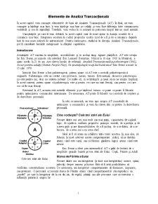 Analiză Tranzacțională - Pagina 1
